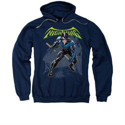 Nightwing DC Comics Hoodie Sweatshirt Nightwing Navy Blue Adult Hoody Sweat Shirt
