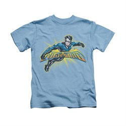 Nightwing DC Comics Shirt Burst Kids Carolina Blue Youth Tee T-Shirt
