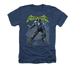 Image of Nightwing DC Comics Shirt Nightwing Adult Heather Navy Blue Tee T-Shirt