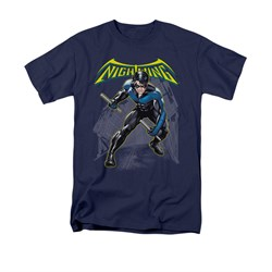 Image of Nightwing DC Comics Shirt Nightwing Adult Navy Blue Tee T-Shirt