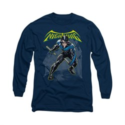 Image of Nightwing DC Comics Shirt Nightwing Long Sleeve Navy Blue Tee T-Shirt