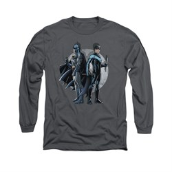 Nightwing DC Comics Shirt Spotlight Long Sleeve Charcoal Tee T-Shirt