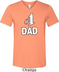 Number 1 Dad Mens Tri Blend V-neck Shirt