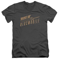 Image of Oldsmobile Slim Fit V-Neck Shirt Rocket 88 Charcoal T-Shirt