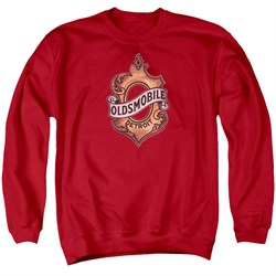 Image of Oldsmobile Sweatshirt Detroit Emblem Adult Red Sweat Shirt