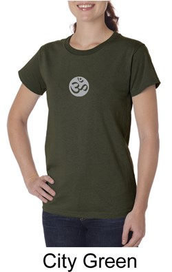 Image of Ladies Yoga T-shirt ? Om Symbol Small Print Organic Tee