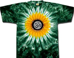 Image of Yoga Shirt OM Symbol Meditation Sunflower Tie Dye Tee Shirt