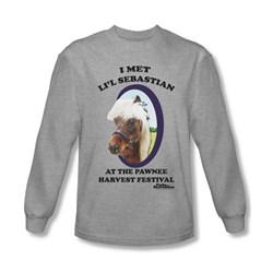 Image of Parks And Recreation Shirt Lil Sebastian Long Sleeve Athletic Heather Tee T-Shirt