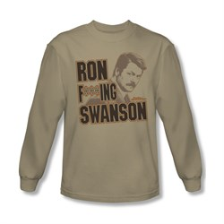Image of Parks And Recreation Shirt Ron Long Sleeve Sand Tee T-Shirt