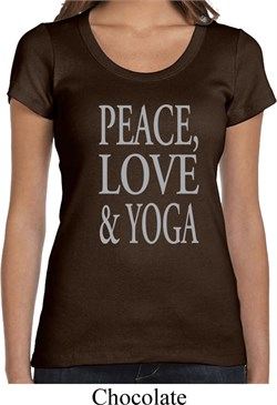 Image of Peace Love & Yoga Ladies Scoop Neck Shirt