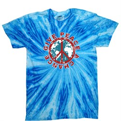 Image of Peace Tie Dye T-shirt Give Peace A Chance Blueberry Twist Tie Dye