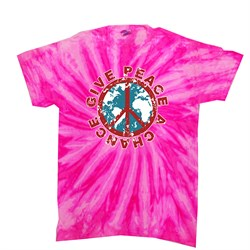 Image of Peace Tie Dye T-shirt Give Peace A Chance Bubblegum Twist Tie Dye