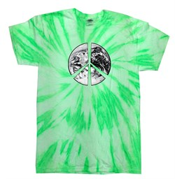 Image of Peace Tie Dye T-shirt Peace Earth Neon Kiwi Twist Tie Dye