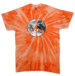 Image of Peace Tie Dye T-shirt Peace Earth Neon Orange Twist Tie Dye