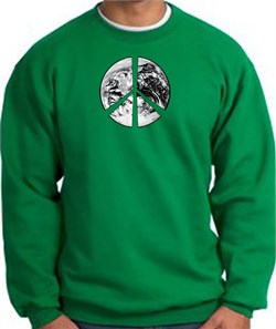 Image of Peace Sweatshirt Peace Earth Satellite Image Sweatshirt Kelly Green