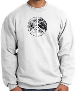 Image of Peace Sweatshirt Peace Earth Satellite Image Sweatshirt White