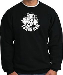 Image of Peace Now Retro Vintage Classic Style Adult Sweatshirt - Black