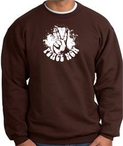 Image of Peace Now Retro Vintage Classic Style Adult Sweatshirt - Brown