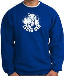 Image of Peace Now Retro Vintage Classic Style Adult Sweatshirt - Royal