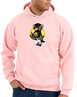 Penguin Power Hoodie Athletic Gym Workout Hoody Pink
