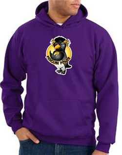 Penguin Power Hoodie Athletic Gym Workout Hoody Purple