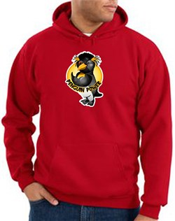 Penguin Power Hoodie Athletic Gym Workout Hoody Red