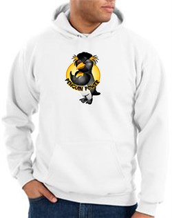 Penguin Power Hoodie Athletic Gym Workout Hoody White