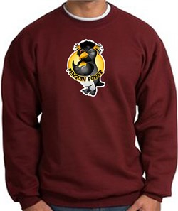 PENGUIN POWER Athletic Gym Workout Adult Sweatshirt - Maroon