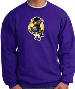PENGUIN POWER Athletic Gym Workout Adult Sweatshirt - Purple