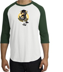 PENGUIN POWER Athletic Gym Workout Adult Raglan T-shirt - White/Forest