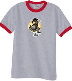 Penguin Power Shirt Athletic Gym Workout Ringer Tee Heather Grey/Red