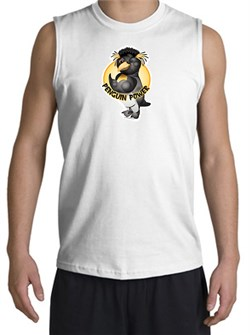PENGUIN POWER Athletic Gym Workout Adult Muscle Shirt Shooter - White