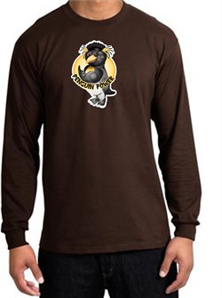 PENGUIN POWER Athletic Gym Workout Adult Long Sleeve T-shirt - Brown