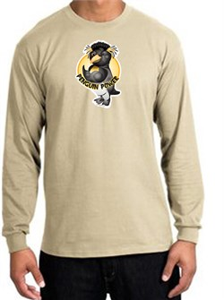 PENGUIN POWER Athletic Gym Workout Adult Long Sleeve T-shirt - Sand