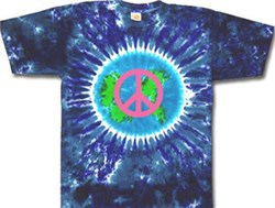 Image of Peace Sign Shirt Pink Peace Earth Tie Dye Tee
