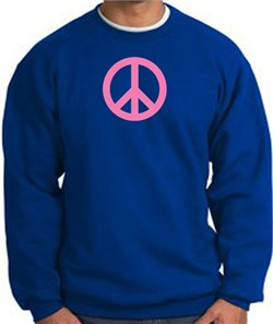 Image of PINK PEACE World Peace Sign Symbol Adult Sweatshirt - Royal