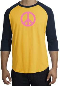 Image of PINK PEACE World Peace Sign Symbol Adult Raglan T-shirt - Gold/Navy