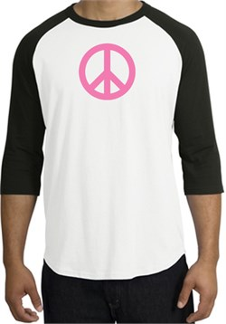 Image of PINK PEACE World Peace Sign Symbol Adult Raglan T-shirt - White/Black