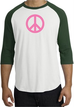 Image of PINK PEACE World Peace Sign Symbol Adult Raglan T-shirt - White/Forest