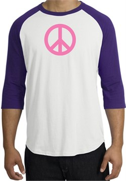 Image of PINK PEACE World Peace Sign Symbol Adult Raglan T-shirt - White/Purple