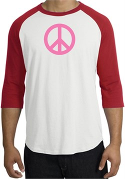 Image of PINK PEACE World Peace Sign Symbol Adult Raglan T-shirt - White/Red
