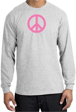 Image of PINK PEACE World Peace Sign Symbol Adult Long Sleeve T-shirt - Ash