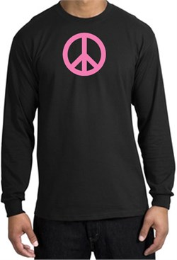 Image of PINK PEACE World Peace Sign Symbol Adult Long Sleeve T-shirt - Black