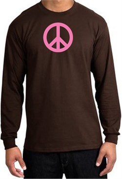 Image of PINK PEACE World Peace Sign Symbol Adult Long Sleeve T-shirt - Brown
