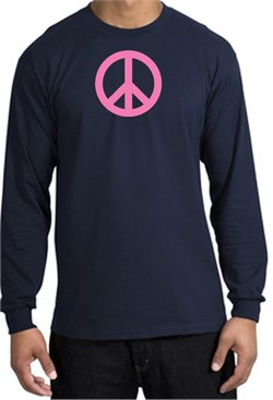Image of PINK PEACE World Peace Sign Symbol Adult Long Sleeve T-shirt - Navy