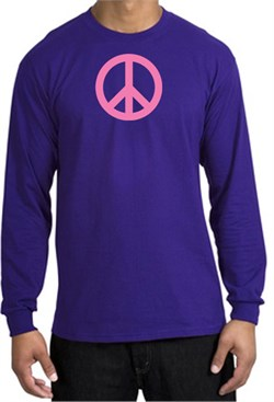 Image of PINK PEACE World Peace Sign Symbol Adult Long Sleeve T-shirt - Purple