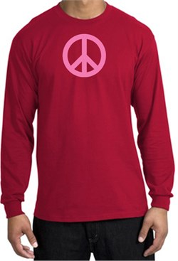 Image of PINK PEACE World Peace Sign Symbol Adult Long Sleeve T-shirt - Red
