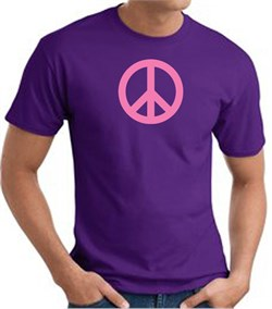 Image of PINK PEACE World Peace Sign Symbol Adult T-shirt - Purple