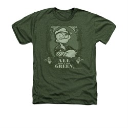 Image of Popeye Shirt All About The Green Adult Heather Military Green Tee T-Shirt