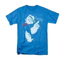 Image of Popeye Shirt Get To The Point Adult Turquiose Tee T-Shirt